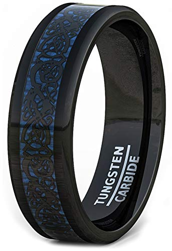 Duke Collections Mens Wedding Band 8mm Black Tungsten Ring Blue Celtic Dragon Beveled Edge Comfort Fit (7.5)