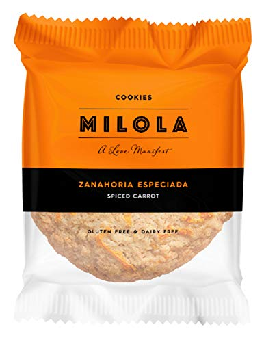 MILOLA Galletas Gluten Free. Pack 12 unidades   Sin Gluten, Sin Lácteos, Sin Gluten, Sin Aceite de Palma (SPICY CARROT)