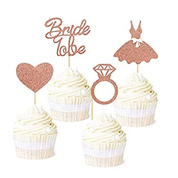 Ercadio 36 Pack Bride to Be Cupcake Toppers Rose Gold Glitter Dress Heart Ring Cupcake Picks Wedding Bachelorette Bridal Shower Party Cake Decorations Supplies