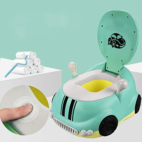 KUANDARYJ Toilettes Trainer Pot WC Siège Toilette Pliable Enfants Réducteurs de Toilettes Trainer Pot WC pour Chaise Bébé avec Plaque Anti-Eclaboussure Haute, Green