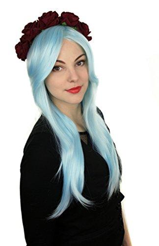 Prettyland Perruque Longue 60cm Bleu Clair Lisse Frange Volume Extraterrestre Vampire Dégradé Princesse C088