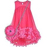 Vestito Bambina Rosa Rosso Pizzo Senza Maniche 2 pacchi Borsa a Tracolla Borsa 8 Anni