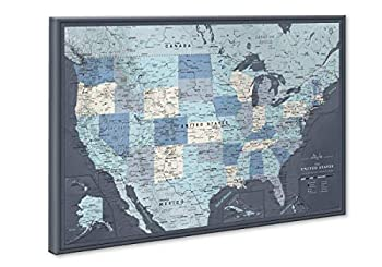 Push Pin Map United States on Canvas | Personalized Push Pin US Map | Large Push Pin Map of United States
