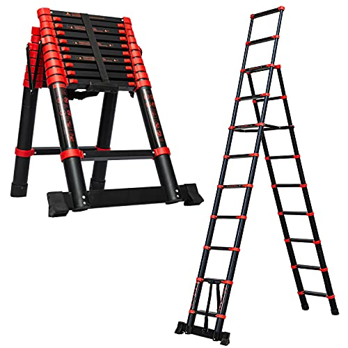 9+11 Multi-Position Expansion Telescoping Ladder,Aluminum Expansion Ladder with Stabilizer,A-Frame One-Button Sliding Contraction,Folding Ladder with Spring Loaded Locking for Household RV Work