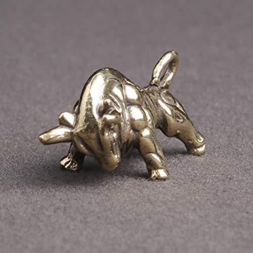 BESPORTBLE Ochse Skulptur Mini Tierkreiszeichen Figuren Messing Vintage Feng Shui Glücksbringer 2021 Jahr des Ochsen Chinesisches Neujahr Deko Geschenk Schmuckanhänger Schlüsselanhänger 2Stück