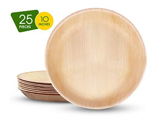 FOOGO - Platos desechables para bodas y fiestas, biodegradables, respetuoso con el medio ambiente, Groß 25cm