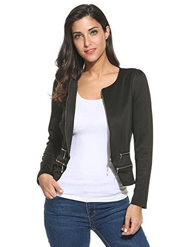 Zeagoo Women's Casual Zipper Cardigan Blazer O Neck Slim Fitted Office Jacket,Black,Large