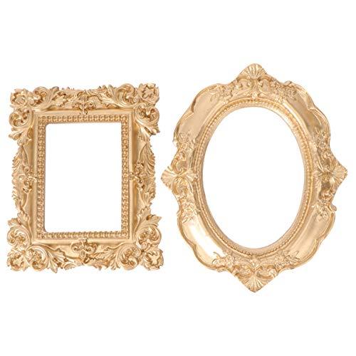 Lurrose 2 Piezas Marco de Foto Vintage Oval Rectángulo Sobremesa Colgante de Pared Marco de Fotos Nail Art Marco de Fotos para Tienda Salón Decoración Del Hogar Estilo 1