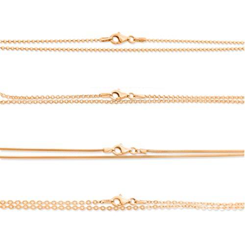 Kette rosegold aus 925 Silber vergoldet Damenkette Kugelkette Erbsenkette Ankerkette Schlangenkette Kette für Anhänger Kinder Frauen 38cm, 42cm, 45cm, 50cm, 60cm, 70cm