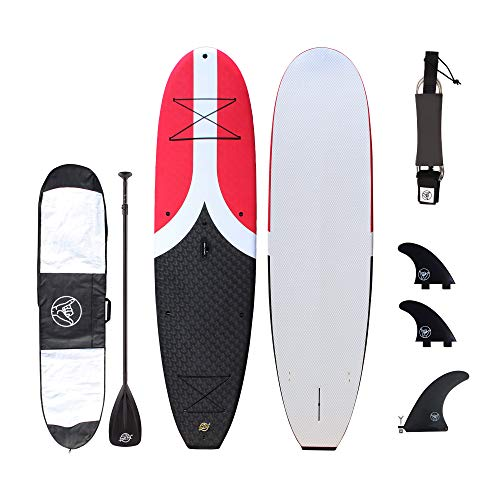 South Bay Board Co. - Premium Soft Top Stand Up Paddle Board - The Deluxe Package - 10'4 Big Cruiser SUP (Red)