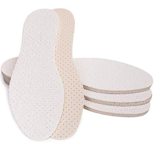 SULPO 4 Paare Barfußsohlen aus 100% Baumwolle Frottee mit Latexdämpfung, Einlegesohlen gegen Schweißfüße für frische Füße Schuheinlagen Deo Einlagen für Damen und Herren (46)