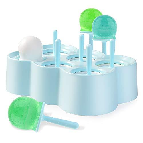TUXUNQING Moldes para Helados, Uso de 6 pequeños Helados Redondos, moldes para Helados para niños y Adultos, moldes para Helados, moldes para paletas, Mini moldes para paletas de Silicona.