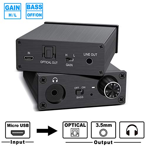 DAC USB Headphone Amplifier 3.5mm Stereo Audio Out/Optical Output/Headphone Jack Output, Mini Headphone Amp and Preamp Micro USB Decoding