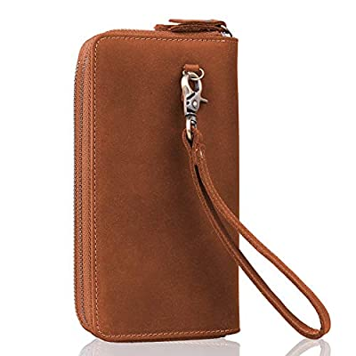 Leather Wristlet Wallet,Jack&Chris Premium Clutch Wallet Double Zipper Card Cell Phone Holder RFID Blocking Purse for Men and Women, NM8058 (Light Brown)