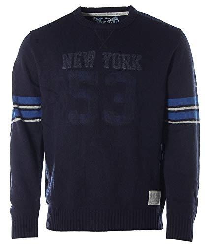 Kitaro Herren Pullover Strick Rundhals Lammwolle -New York- Dark Blue M