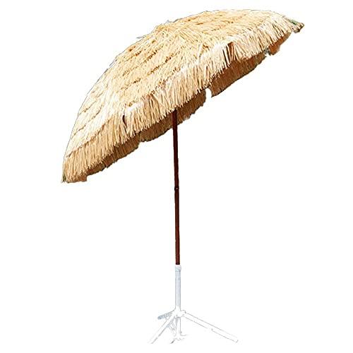 WSDSX Sombrilla Jardin Exterior,1.8m / 6ft Inclinación portátil 45 ° UPF50 + Sombrilla de Playa de Paja de Rafia, Sombrilla de Playa Redonda Hula, para Piscina de césped, Patio Trasero, jardín, so