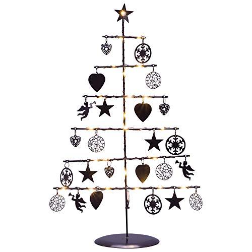 GEK Dekobaum LED Weihnachten aus Metall schwarz mit Dekoanhängern, 25 LED warmweiss, Höhe 42cm