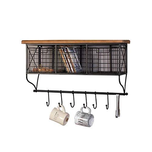 BLWX LY metalen wandplank voor keuken met haken, zwevende plank nachtkastje hout en ijzer, kubus diep muur gemonteerd retro frame kast opbergmeubel boekenplank