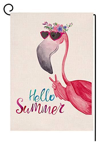 BLKWHT Hello Summer Flamingo - Bandera de jardín Vertical de Doble Cara (12,5 x 18 Pulgadas), diseño Floral, para decoración de Exteriores