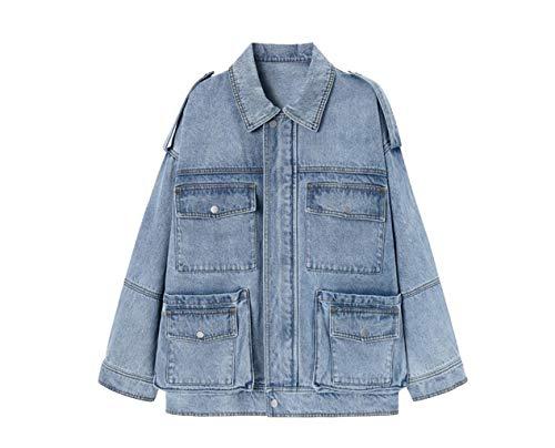 Womens denim Jacket los gereedschap bovenaan lang deel licht rits enkele rij Blue denim Coat