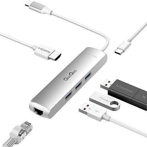 QacQoc 6 in 1 Hub usb C, Macbook hub type c con 1 porta USB C (di ricarica), 1 porta HDMI 4K(30Hz), 1 porta RJ45, 3 porte USB 3.0, Adattatore usb in Alluminio per Macbook/pro etc