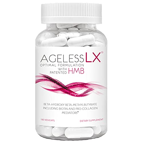 AgelessLX Anti Aging Supplement for Women - with HMB Collagen Enhancer Plus Vitamin D3 and K2, Horsetail and Biotin - Helps Build Lean Muscle, Strong Nails and Promotes Hair Growth
