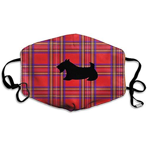 Staubdichte Masken, geeignet zum Laufen und Radfahren im Freien, Scottie Red Plaid Scottish Terrier Dog Tan
