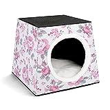 cuccia portatile per animali domestici,letto per tenda,articoli per animali domestici,shabby flora rose rosa con grey foglie giardino piante spring blossoms,cucciolo o gatto