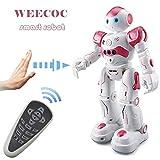 WEECOC RC Robot Juguetes de detección de Gestos Robot Inteligente de Juguete para niños Pueden Cantar Bailar Hablar Navidad Regalo de cumpleaños (Azul)