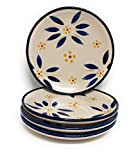 Temp-tations Set of 4 Hand Painted Stoneware Bread/Appetizer Plates (Old World Blue)