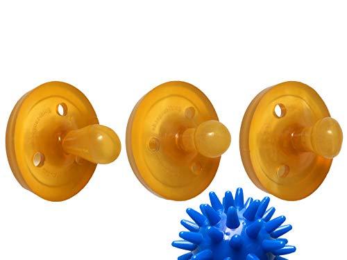 Goldi Sauger Probierset M-L (M natur, L oval, L abgeschrägt) + Care-Wert ® Massageball