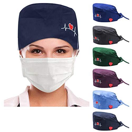NINGSANJIN Frosted Fluffy Turban Hat für Herren/Damen mit knöpfe One Size op haube Stoff Chirurgie Bouffant Operationssaal bunt Kopfbedeckung OP Kappe Einstellbar (6PCS)