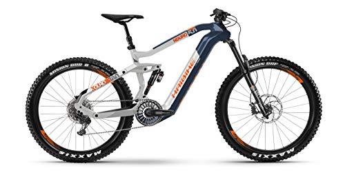 HAIBIKE XDURO NDURO 5.0 Flyon - Bicicletta elettrica 2020 (M/44 cm, blu/bianco/arancione)