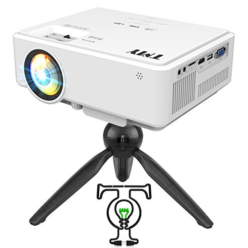 TMY HD Projector [with Tripod], [150 ANSI-Over 6500 Lux Brightness], 1080P Full HD Enhanced Mini Projector, Portable Projector for Outdoor Movies, Compatible with TV Stick HDMI USB VGA AV.