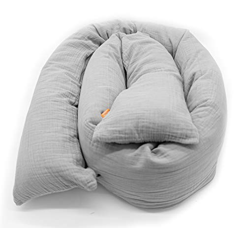 Mizali - Bettschlange 150 cm - mit Reißverschluss - abnehmbarer Musselin Bezug - waschbar - Bettumrandung Babybett Nestchen Kantenschutz Kinderbett (150 cm, Hellgrau)