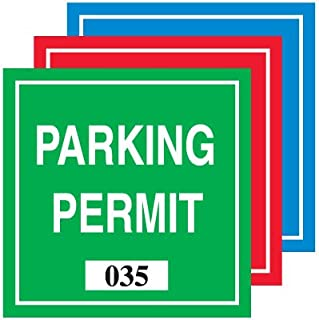 Parking Permit W/#/Type I/REDFront Adhesive Black/White on Red