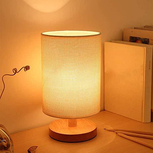 Modern Tischlampe aus Holz mit Zugschalter & EU-Stecker, 3000k Warmweiß, auf Tisch E27-Fassung, Skandinavisch Nachttischlampe für Schlafzimmer, Geschenk, Wohnzimmer, Esszimmer Eckig, Kinderzimmer