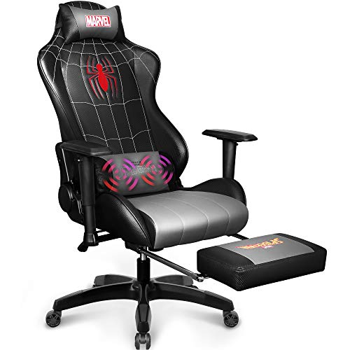 Marvel Avengers Massage Gaming Chair Desk Office Computer Racing Chairs- Adults Gamer Ergonomic Game Footrest Reclining High Back Support Racer Leather Foot Rest (Spider-Man)