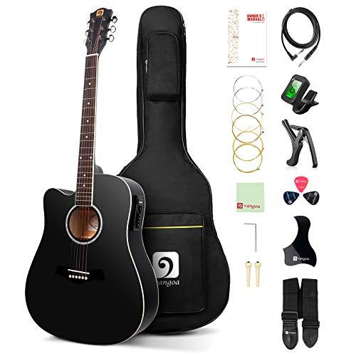 Vangoa 4/4 Gitarre für Linkshänder Cutaway Elektro Akustische Gitarren 41 Zoll mit 4-Band-Equalizer, Anfänger-Kits, Schwarz