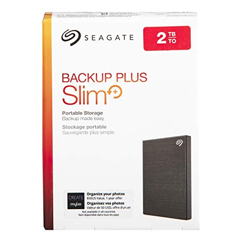 Seagate STHN2000400 Backup Plus Slim 2TB External Hard Drive Portable HDD - Black USB 3.0 for PC Laptop and Mac, 1 Year Mylio Create, 2 Months Adobe CC Photography