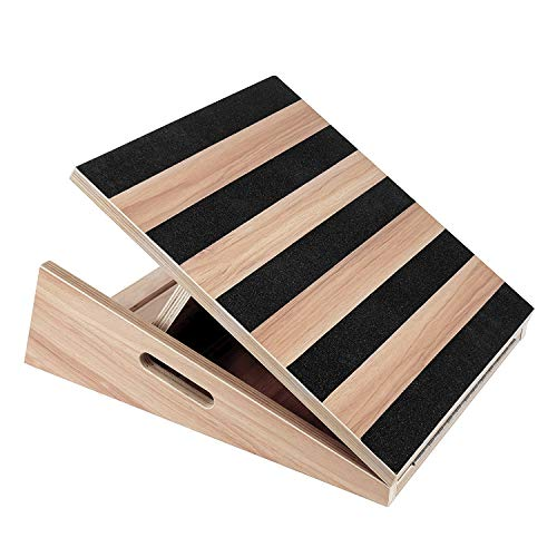 TOUCH-RICH Professional Wooden Slant Board, Adjustable Incline Board and Calf Stretcher, Stretch Board - Extra Side-Handle Design for Portability 5 Positions (Full-Coverage)