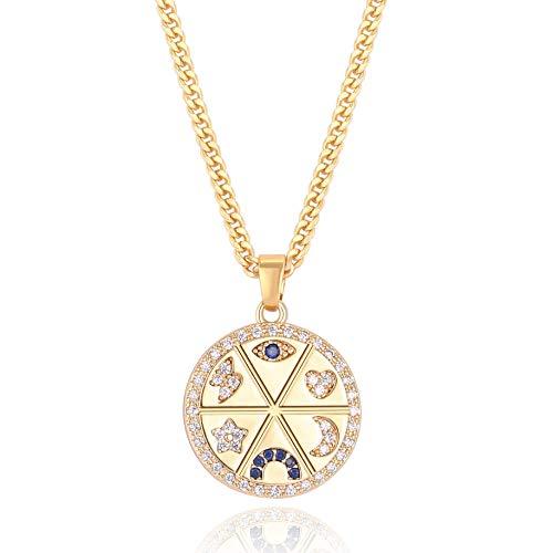 Blue Evil Eye Horseshoe Pendant Coin Necklace 18k...