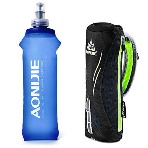 Geila Hand-Trinkflasche zum Laufen, 500 ml, mit Handschlaufe, Trinkrucksack, weicher Sport-Flasche, Schwarz