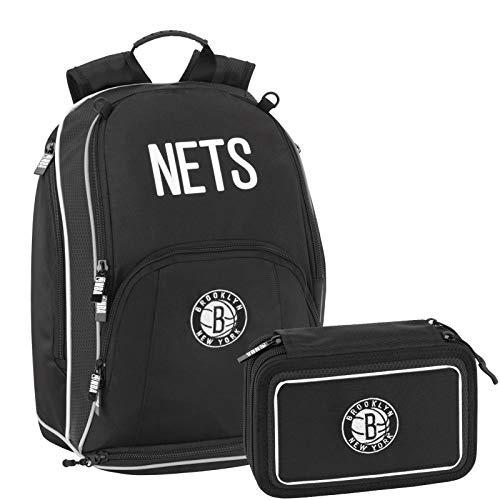 NBA Brooklyn Nets Schoolpack - Mochila escolar organizada con estuche de 3 cremalleras