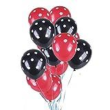 GAKIN 50 globos de látex de lunares de 30,5 cm para decoración de bodas, cumpleaños, fiestas, color rojo y negro