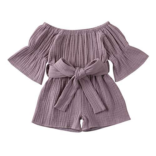 Carolilly - Mono de bebé de una sola pieza con hombros descubiertos y pelele de verano con mangas y cinturón violeta 2-3 Años