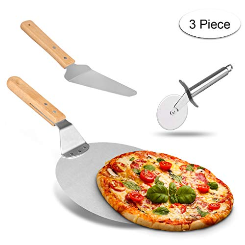 Weeygo Stainless Steel Wood Handle Wheel Cutter Transfer Shovel Baker Tools for Baking Pizza and Cake on Oven & Grill, 3 Pieces, Silver