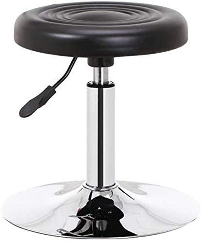 QTQZDD ronde barkruk Beauty Shop bank kapsalon draaibank receptie receptie registratie koffer bank woonkamer schoenen bank bureaubank hefbank 38 50 cm, PU,  zwart