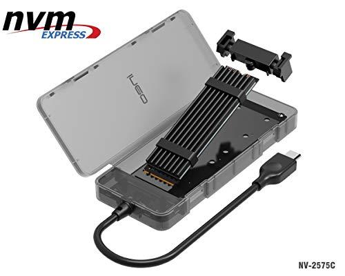 NVMe M.2 SSD zu USB 3.1 Gen2 Externes Festplatten Gehäuse mit USB Typ C Kable, NV-2575C NVMe PCIe SSD Adapter Caddy Case für Samsung 960 970 EVO Pro, WD Black, Werkzeuglose mit Kühlkörper