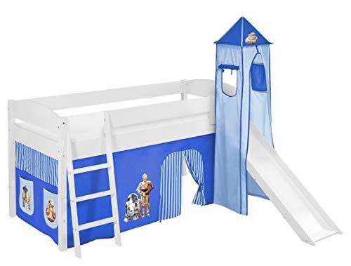 Lilokids Spielbett IDA 4105 Star Wars Blau - Teilbares Systemhochbett weiß - mit Turm, Rutsche und Vorhang